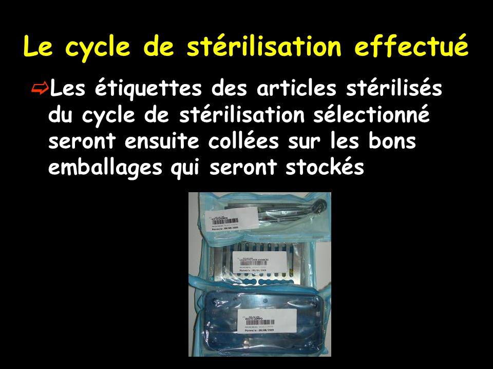 Le cycle de stérilisation effectué