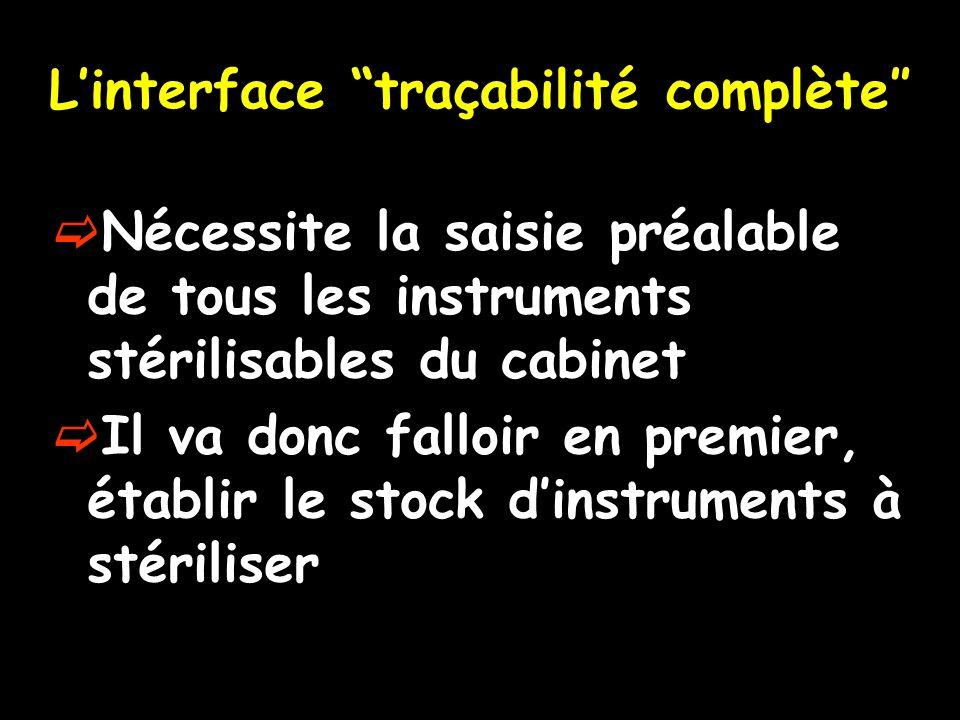 L'interface traçabilité complète″
