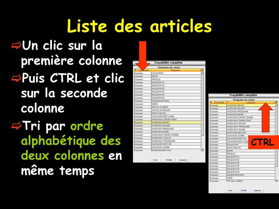 Liste des articles Un clic sur la première colonne
