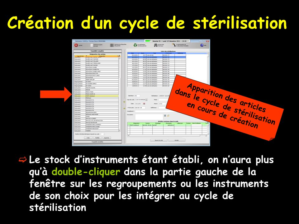 Création d'un cycle de stérilisation