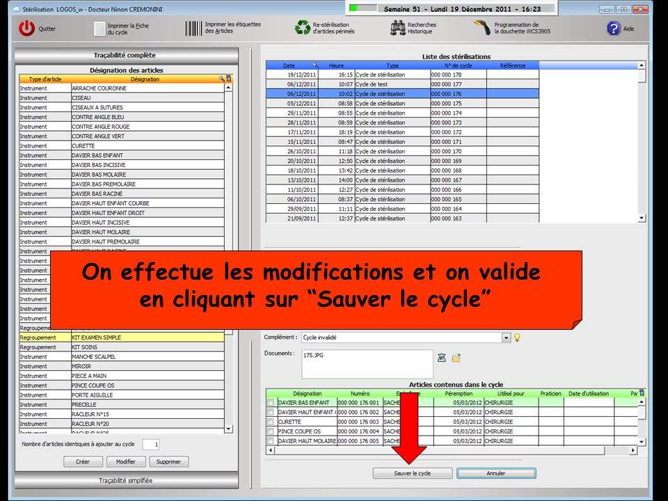 On effectue les modifications et on valide
