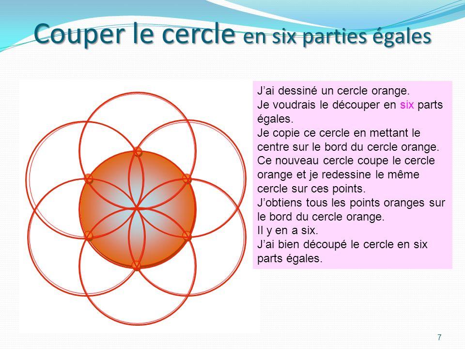 Couper le cercle en six parties égales