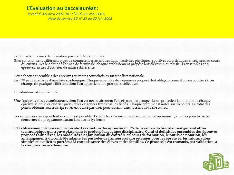L'Evaluation au baccalauréat : arrêté du 09 avril 2002 (BO n°18 du 02 mai 2002) Note de service BO n° 25 du 20 juin 2002