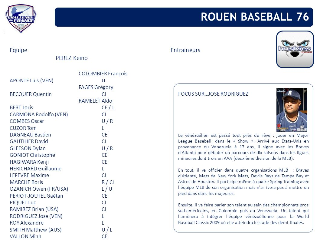 ROUEN BASEBALL 76 Equipe Entraineurs PEREZ Keino COLOMBIER François