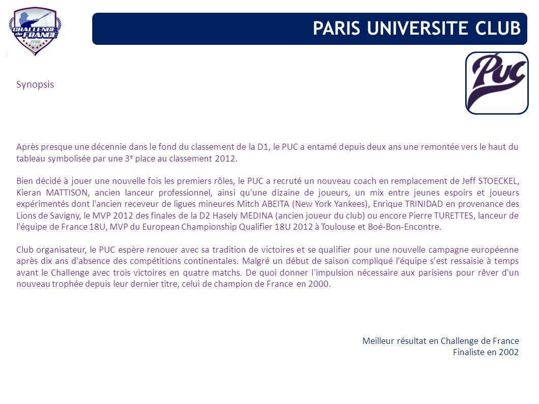 PARIS UNIVERSITE CLUB Synopsis