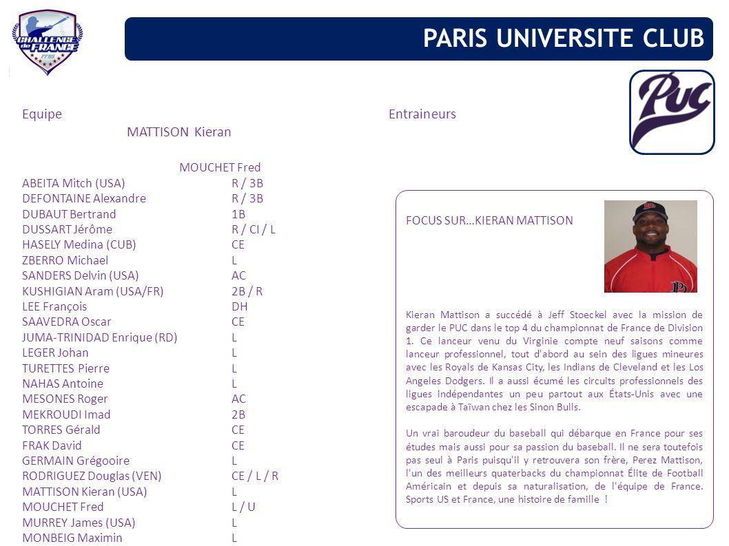 PARIS UNIVERSITE CLUB Equipe Entraineurs MATTISON Kieran MOUCHET Fred
