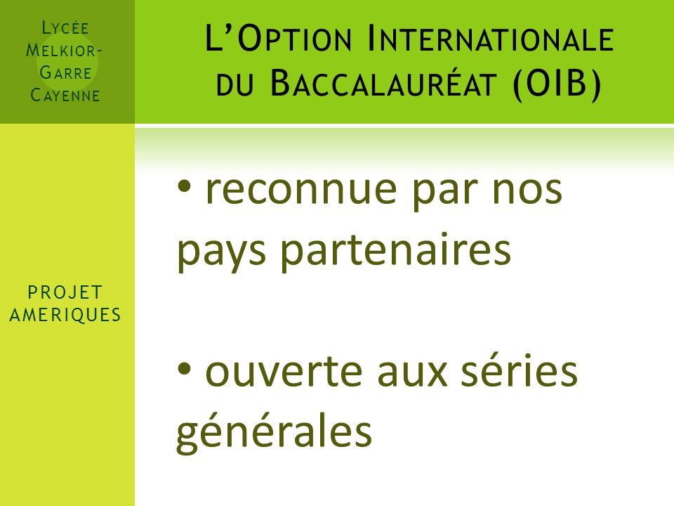 L'Option Internationale du Baccalauréat (OIB)