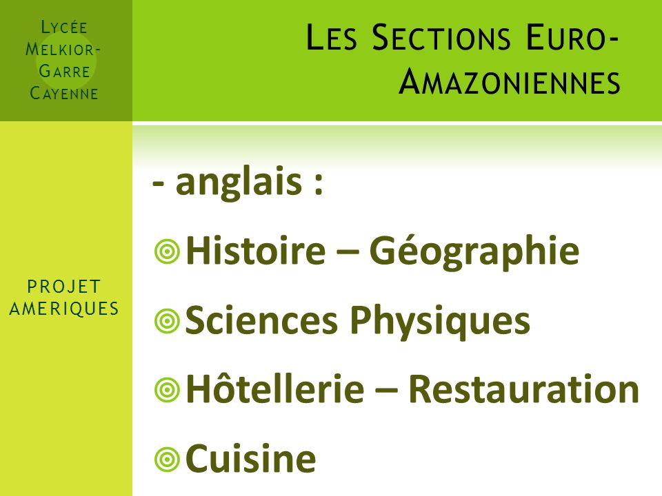 Les Sections Euro-Amazoniennes