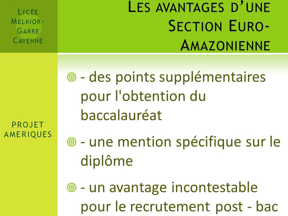 Les avantages d'une Section Euro-Amazonienne