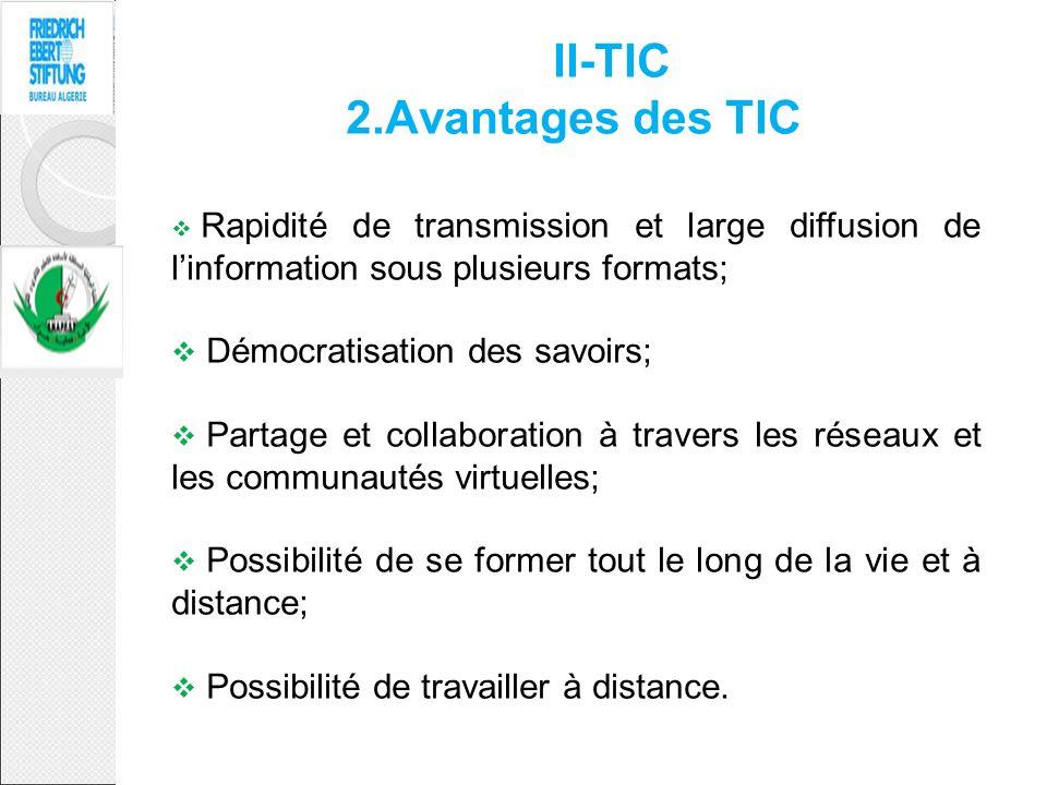II-TIC 2.Avantages des TIC