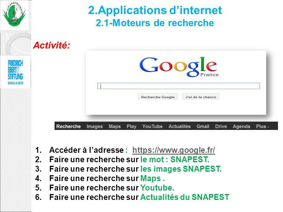 2.Applications d'internet 2.1-Moteurs de recherche