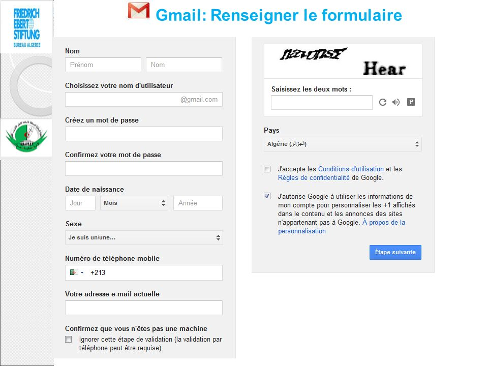 Gmail: Renseigner le formulaire