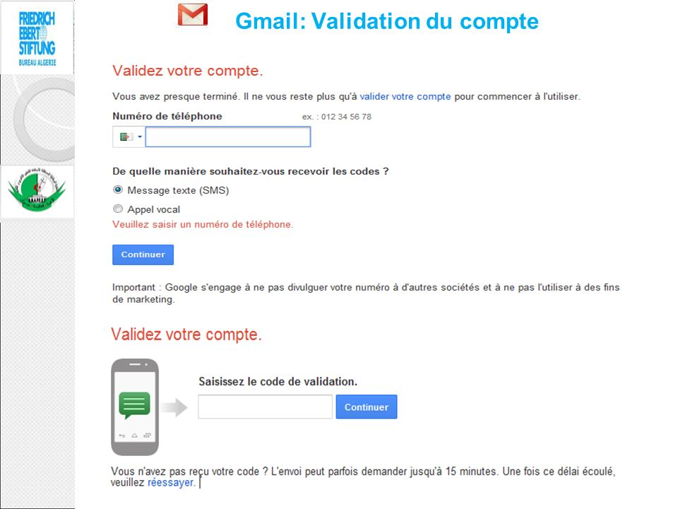Gmail: Validation du compte