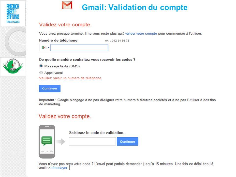Gmail: Validation du compte