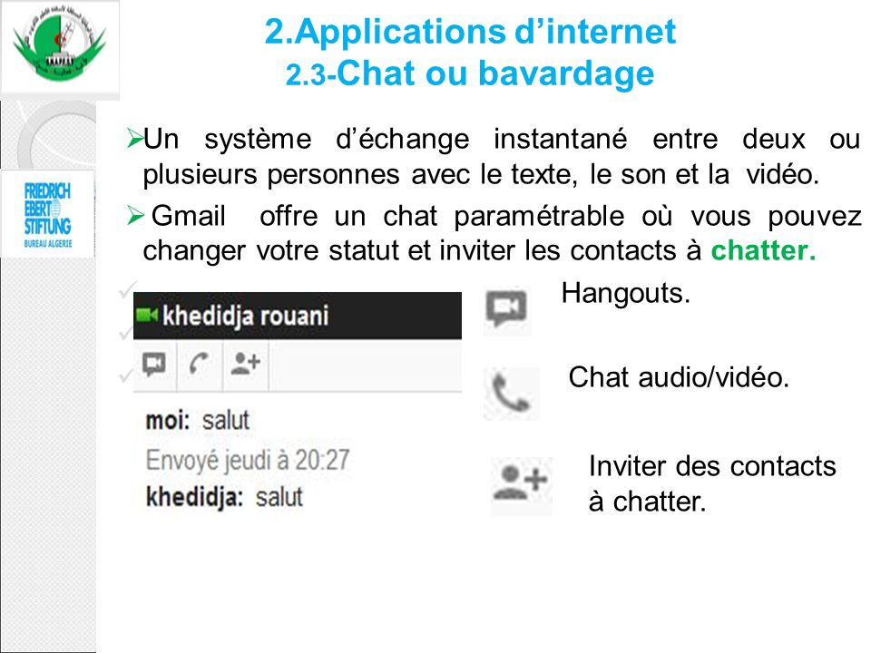 2.Applications d'internet 2.3-Chat ou bavardage