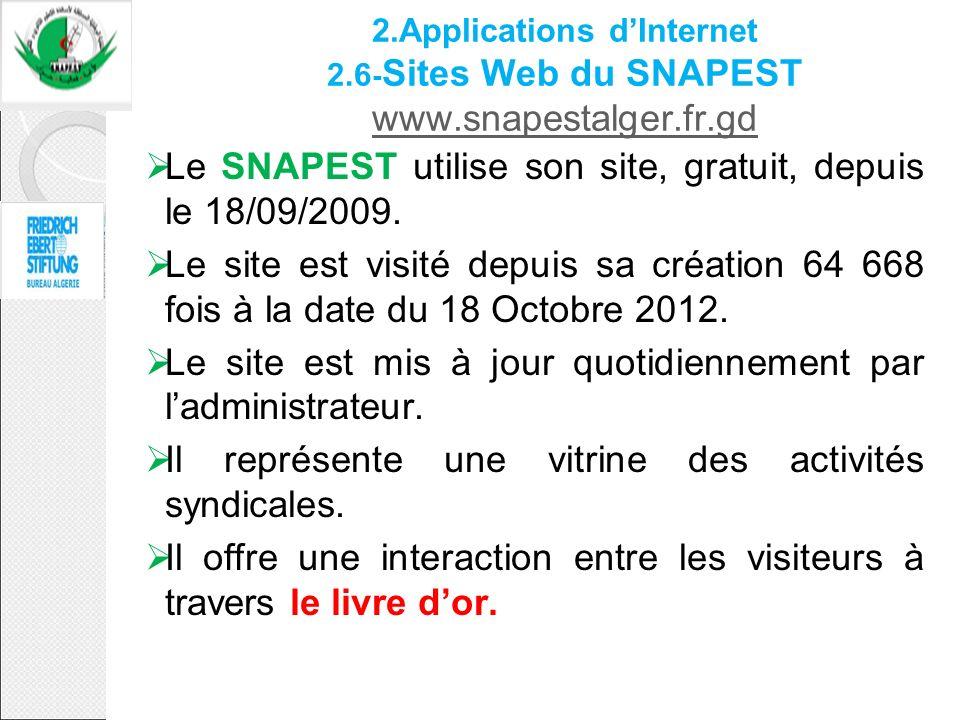 Le SNAPEST utilise son site, gratuit, depuis le 18/09/2009.