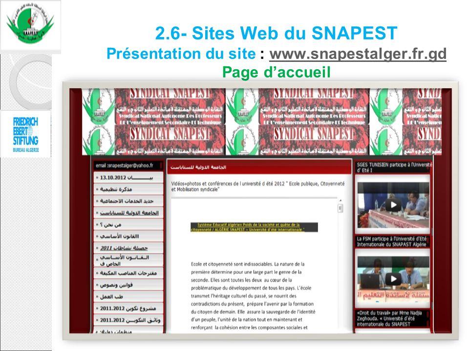 2.6- Sites Web du SNAPEST Présentation du site : www.snapestalger.fr.gd Page d'accueil