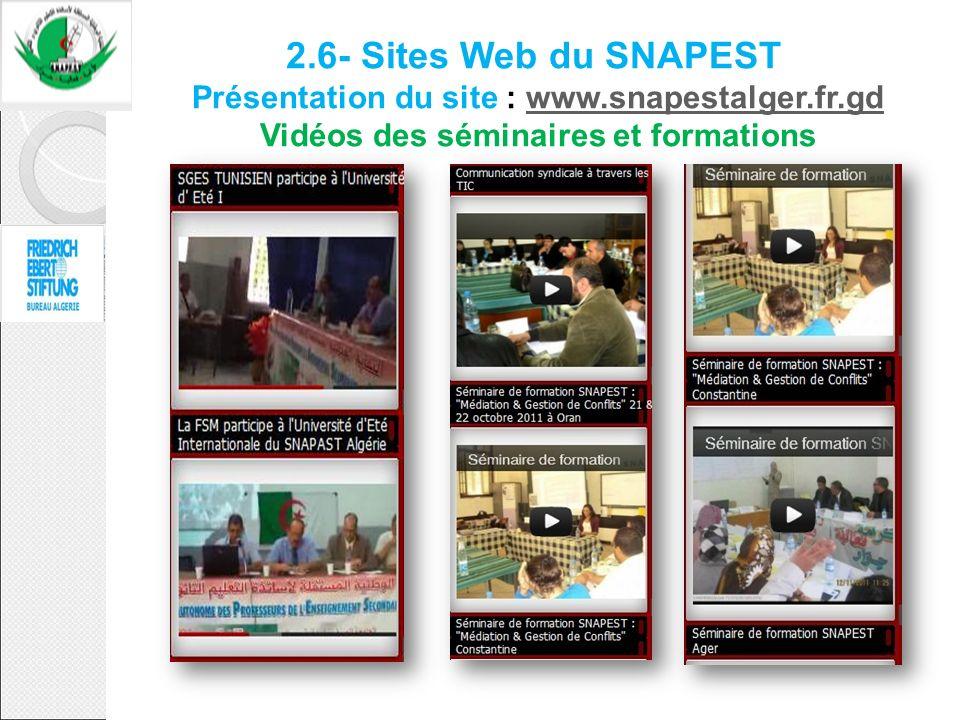 2.6- Sites Web du SNAPEST Présentation du site : www.snapestalger.fr.gd Vidéos des séminaires et formations