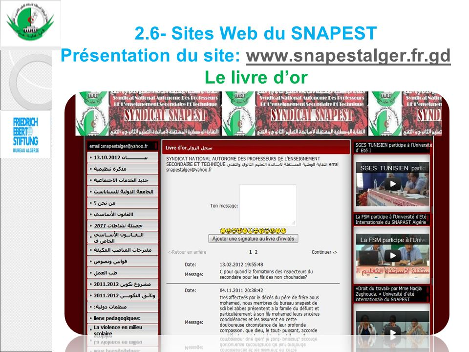 2. 6- Sites Web du SNAPEST Présentation du site: www. snapestalger. fr