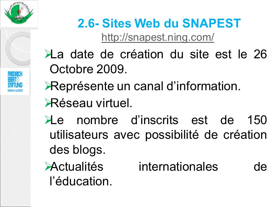 2.6- Sites Web du SNAPEST http://snapest.ning.com/