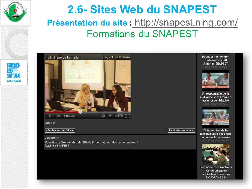 2. 6- Sites Web du SNAPEST Présentation du site : http://snapest. ning