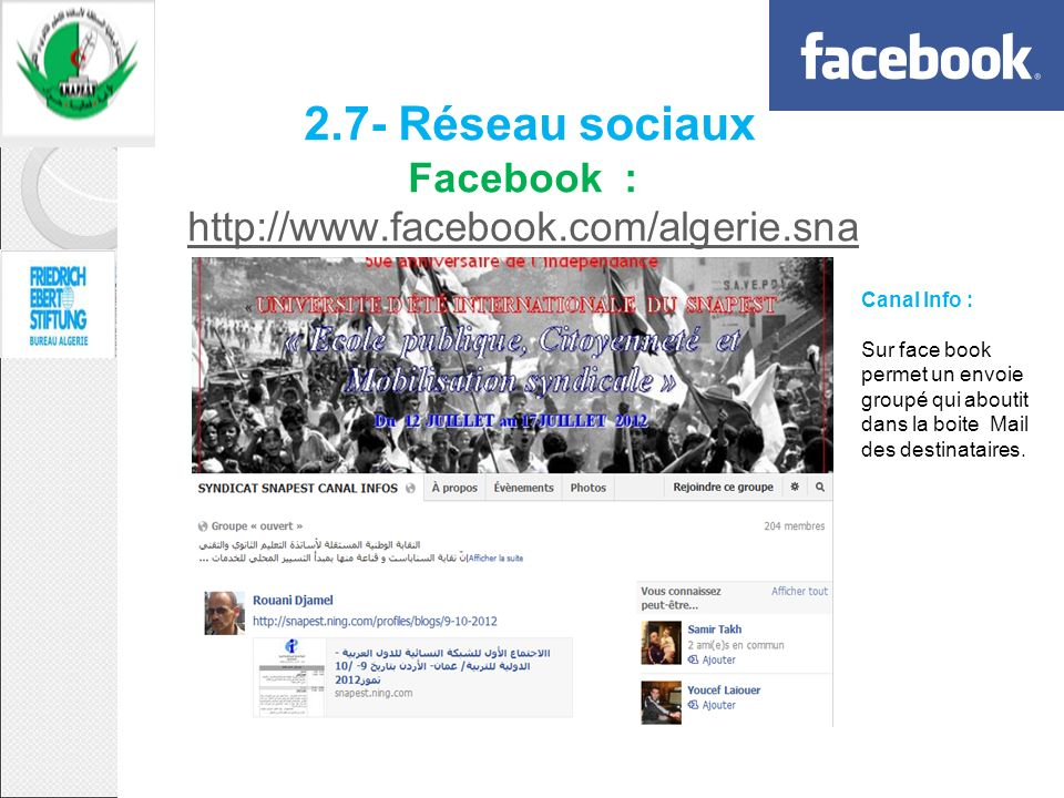 2. 7- Réseau sociaux Facebook : http://www. facebook. com/algerie