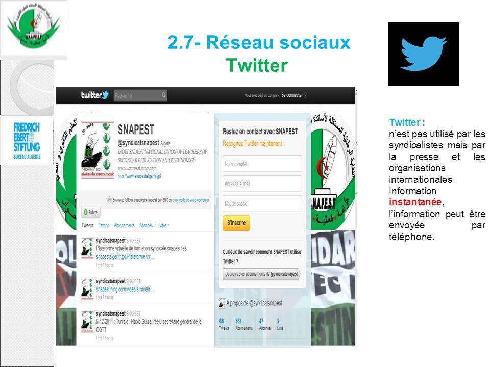 2.7- Réseau sociaux Twitter