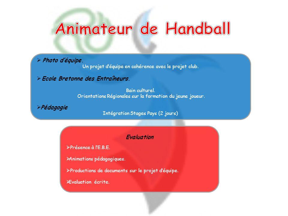 Animateur de Handball Photo d'équipe. Ecole Bretonne des Entraîneurs.