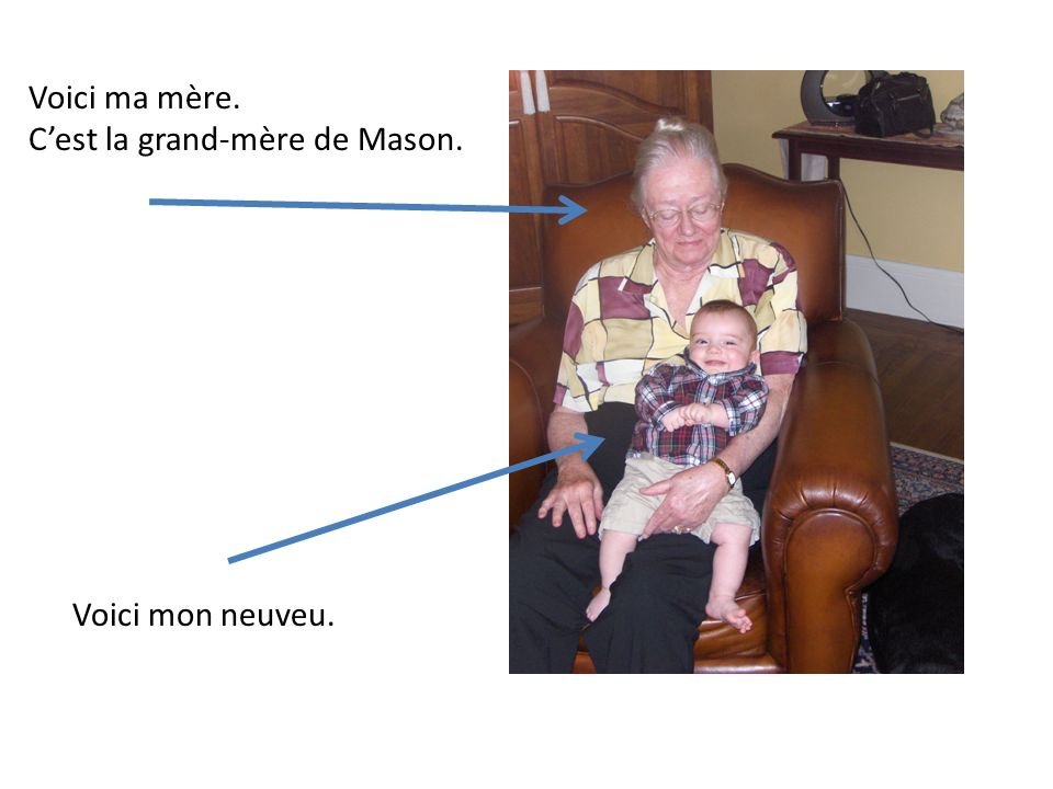 Voici ma mère. C'est la grand-mère de Mason. Voici mon neuveu.