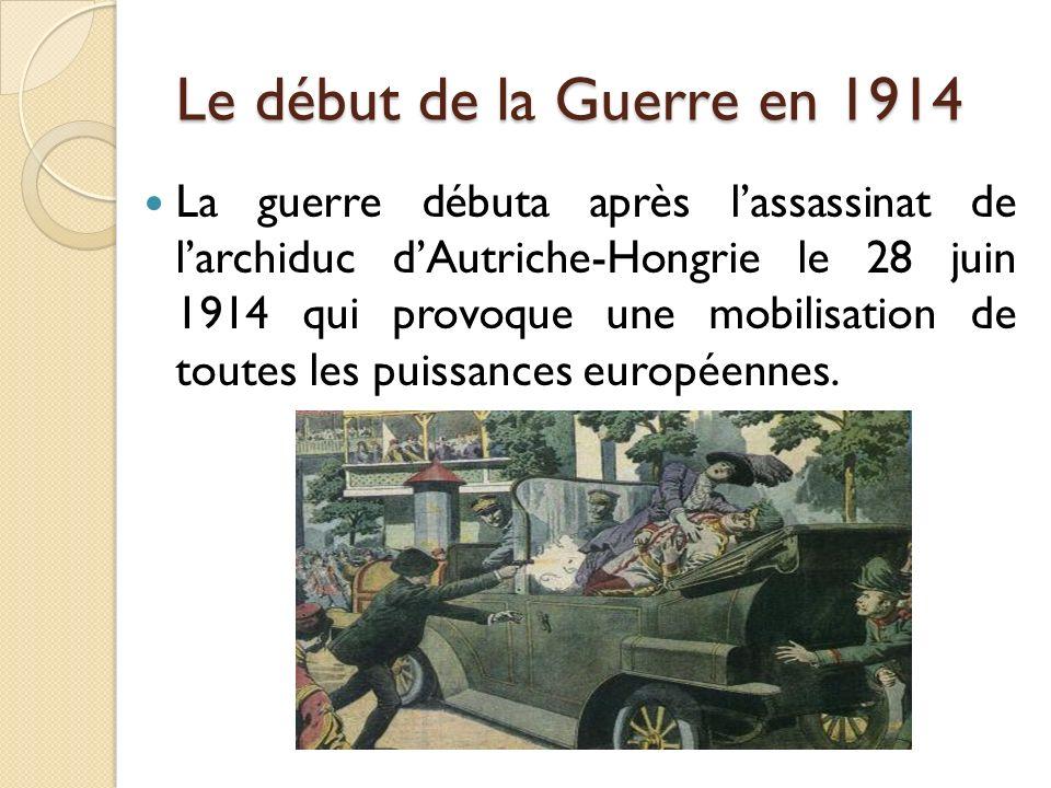 Le début de la Guerre en 1914