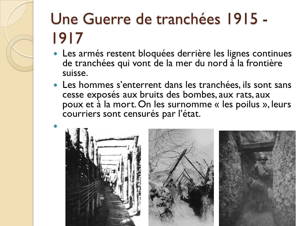 Une Guerre de tranchées 1915 - 1917