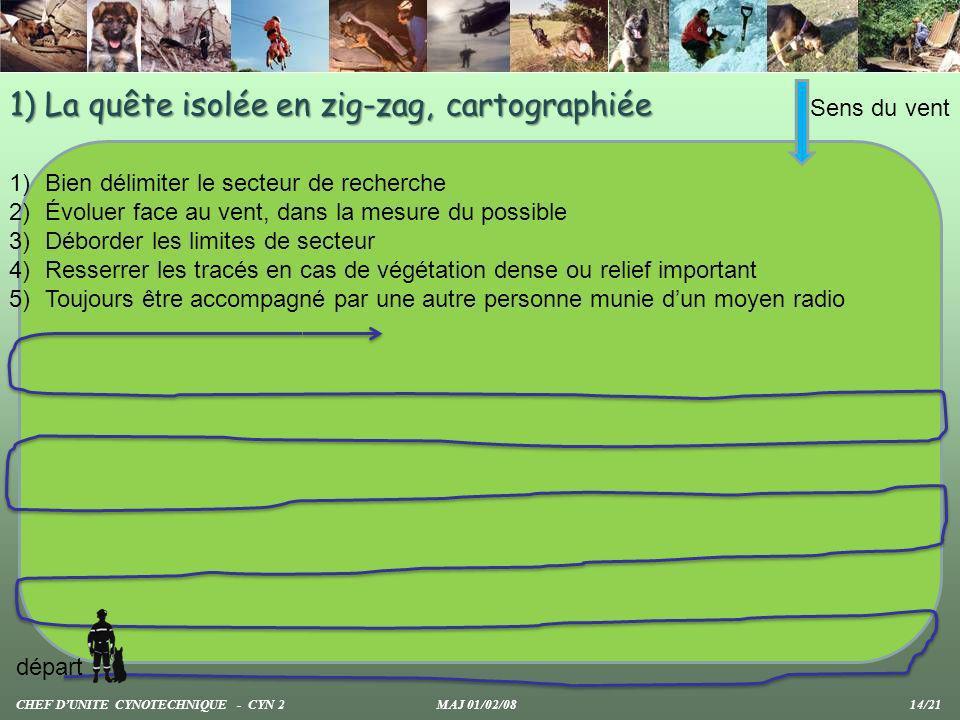 1) La quête isolée en zig-zag, cartographiée