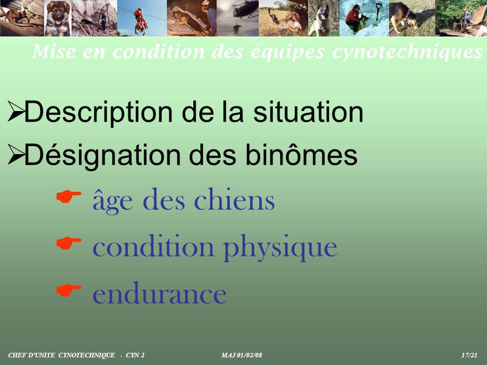  condition physique  endurance Description de la situation