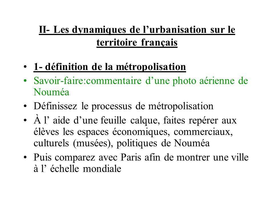 II- Les dynamiques de l'urbanisation sur le territoire français