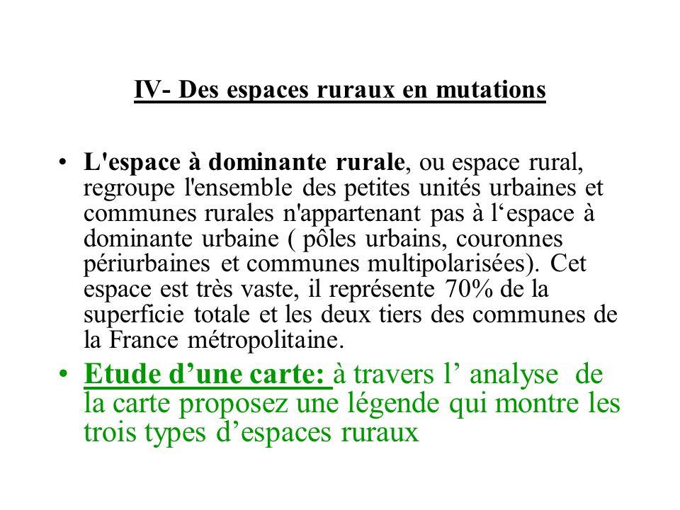 IV- Des espaces ruraux en mutations