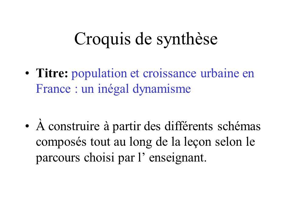 Croquis de synthèse Titre: population et croissance urbaine en France : un inégal dynamisme.
