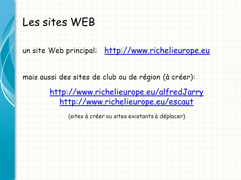 (sites à créer ou sites existants à déplacer)