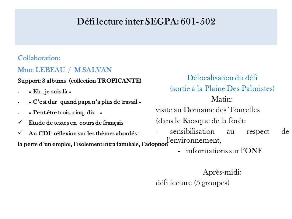 Défi lecture inter SEGPA: 601- 502