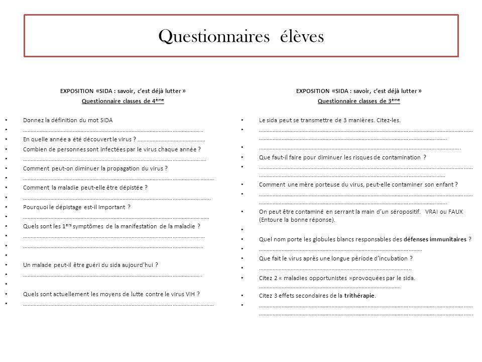 Questionnaires élèves