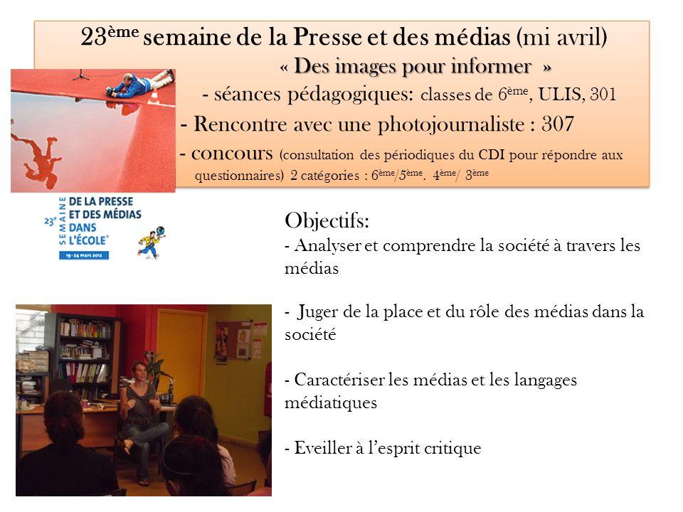 23ème semaine de la Presse et des médias (mi avril) « Des images pour informer » - séances pédagogiques: classes de 6ème, ULIS, 301 - Rencontre avec une photojournaliste : 307 - concours (consultation des périodiques du CDI pour répondre aux questionnaires) 2 catégories : 6ème/5ème. 4ème/ 3ème