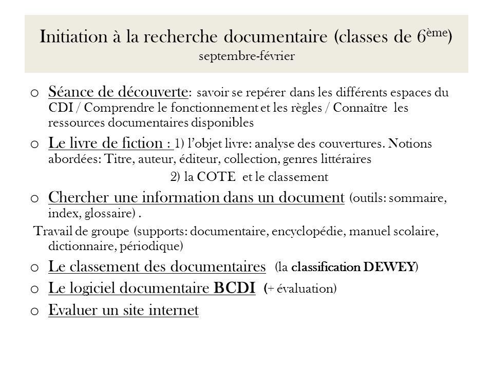 Initiation à la recherche documentaire (classes de 6ème) septembre-février