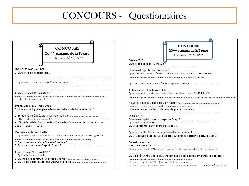 CONCOURS - Questionnaires
