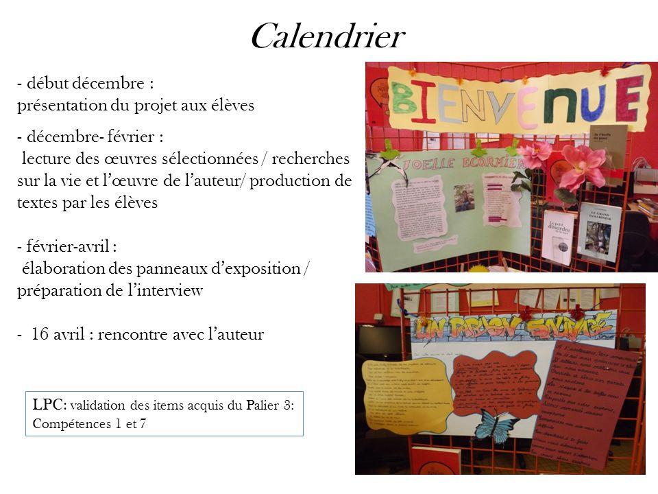 Calendrier début décembre : présentation du projet aux élèves