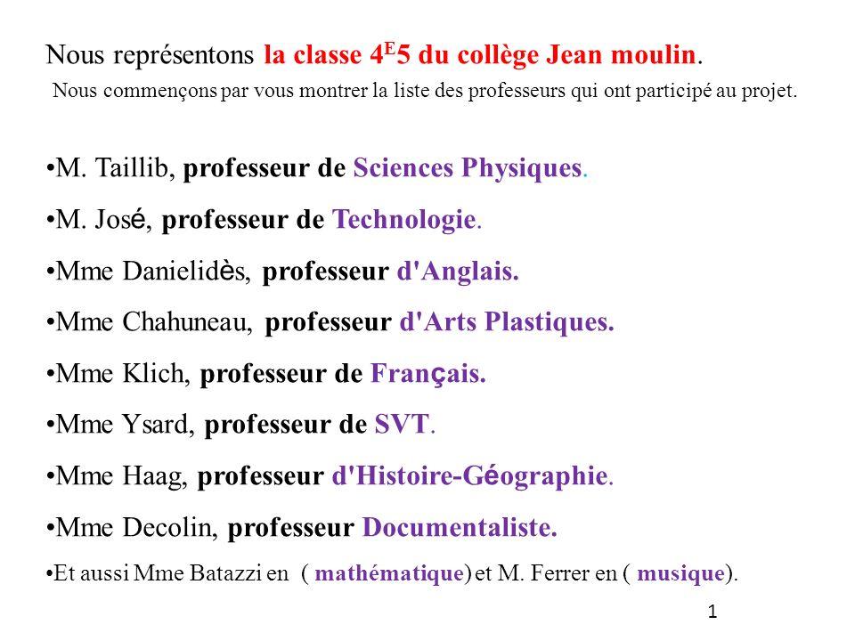 Nous représentons la classe 4E5 du collège Jean moulin.