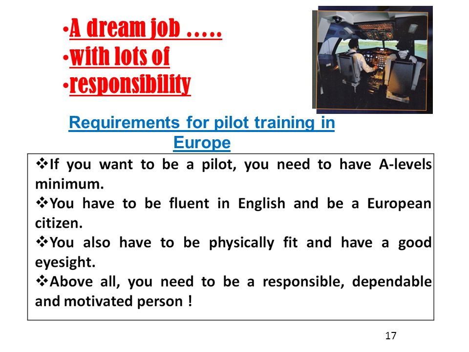 Requirements for pilot training in Europe