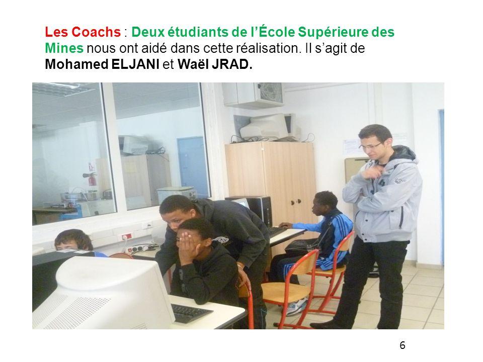 Les Coachs : Deux étudiants de l'École Supérieure des Mines nous ont aidé dans cette réalisation. Il s'agit de Mohamed ELJANI et Waël JRAD.