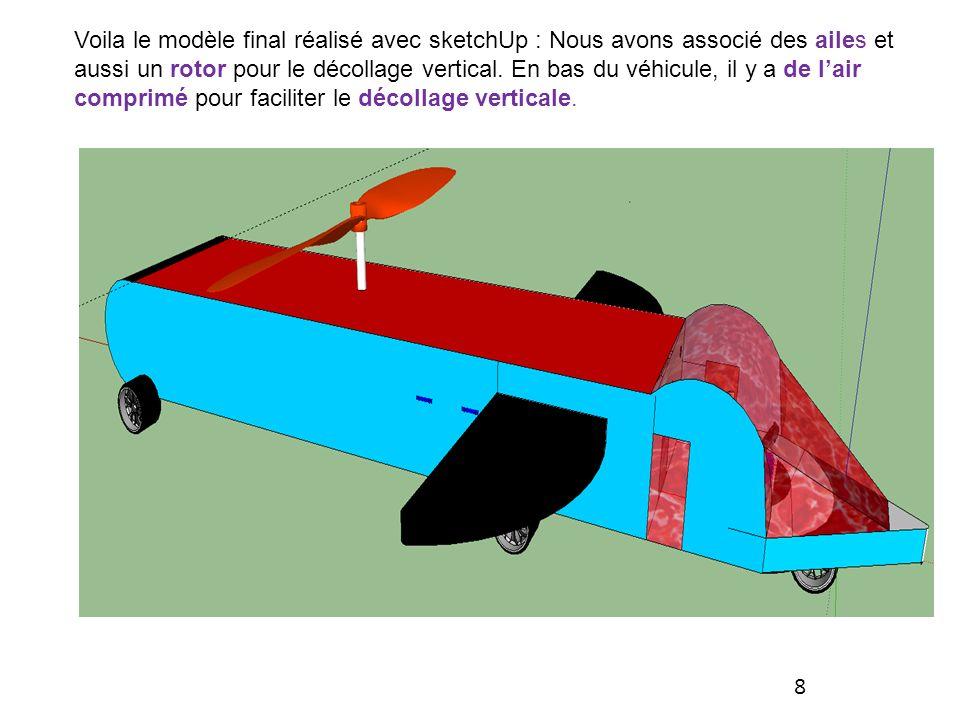 Voila le modèle final réalisé avec sketchUp : Nous avons associé des ailes et aussi un rotor pour le décollage vertical. En bas du véhicule, il y a de l'air comprimé pour faciliter le décollage verticale.