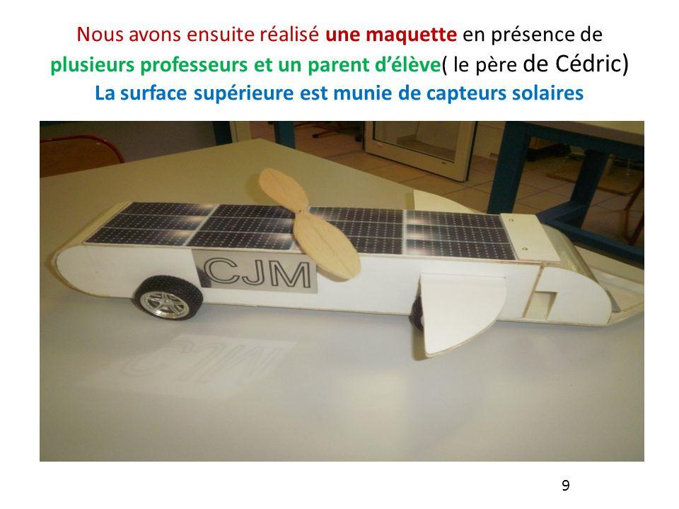 Nous avons ensuite réalisé une maquette en présence de plusieurs professeurs et un parent d'élève( le père de Cédric) La surface supérieure est munie de capteurs solaires