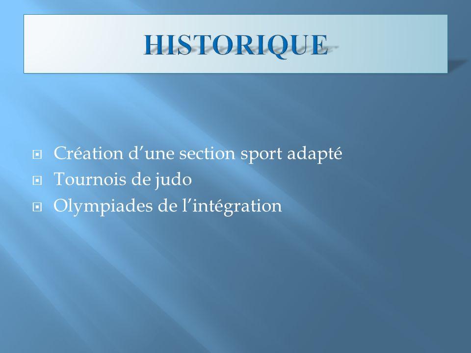 HISTORIQUE Création d'une section sport adapté Tournois de judo
