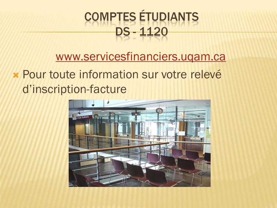 www.servicesfinanciers.uqam.ca Pour toute information sur votre relevé d'inscription-facture